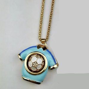 Jewelry - Blue Soccer Jersey Shirt Necklace (Moveable part)